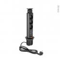Multiprise cuisine - Bloc 3 prises 2 USB - Extractible noir