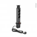 SOKLEO - Bloc 3 prises cuisine 2 USB - Extractible noir