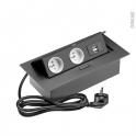 Bloc prise rectangulaire - Pour plan de travail - 2 prises + 2 USB - Finition noir mat