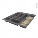 Range couverts - pour tiroir à l'anglaise L50 cm - Anthracite - Porte couteau bois - SOKLEO