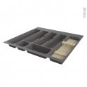 Range couverts - pour tiroir à l'anglaise L60 cm - Anthracite - Porte couteau bois - SOKLEO