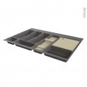 Range couverts - pour tiroir L80 cm - Anthracite - Porte couteau bois - Planche à découper bois - SOKLEO
