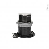 Bloc prise cuisine - Pour îlot - 3 prises + 2 USB - Finition Inox