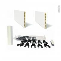 Kit 2 plinthes de cuisine - PVC - Blanc brillant - Avec clips et raccords - L400 x H15 cm - SOKLEO