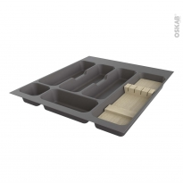 Range couverts - pour tiroir L50 cm - Anthracite - Porte couteau bois - SOKLEO