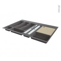 Range couverts - pour tiroir L80 cm - Anthracite - Porte rouleau - Planche à découper bois - SOKLEO
