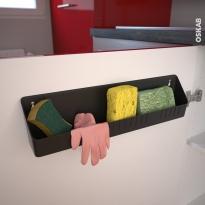 Range éponges - à fixer sur porte de cuisine - Gris anthracite - SOKLEO