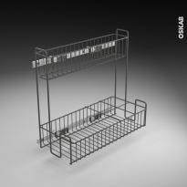 Rangement lessiviel - pour produits d'entretien - 2 étages panier coulissant - EPOXY Anthracite - L40 x H70 cm - SOKLEO