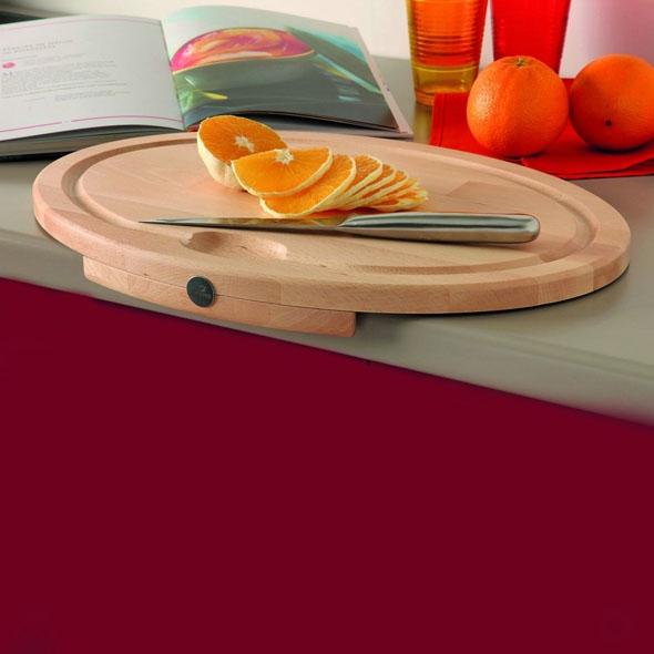 Grande planche à découper - de cuisine ovale - Bois hêtre naturel - SOKLEO