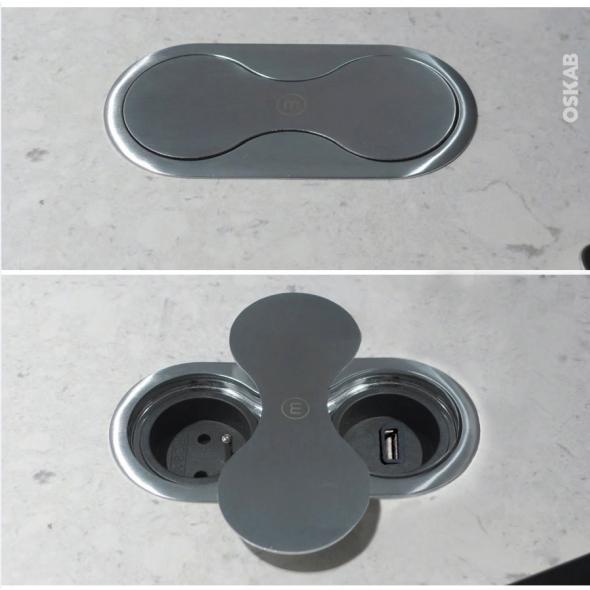 Bloc prise cuisine - Pour plan de travail - 1 prise + 1 USB