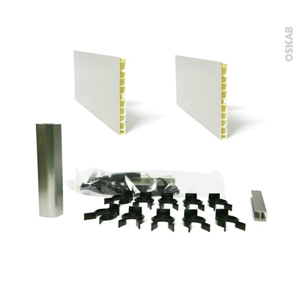 Kit 2 plinthes de cuisine - PVC - Alu - Avec clips et raccords - L400 x H15 cm - SOKLEO