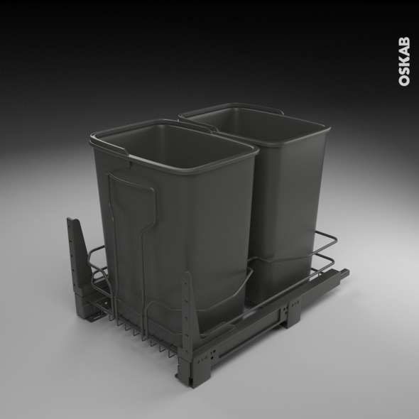 Kit 2 poubelles encastrables - 32L - Tiroir coulissant - Anthracite - SOKLEO