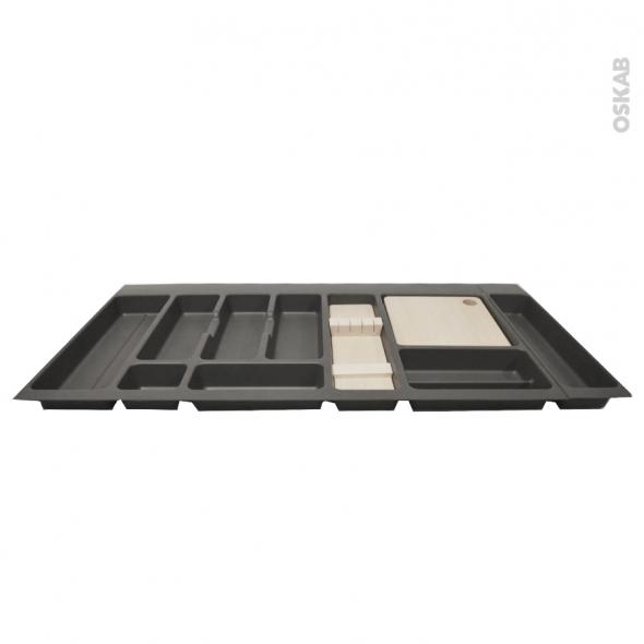 Range couverts - pour tiroir L100 cm - Anthracite - Porte couteau bois - Planche à découper bois - SOKLEO