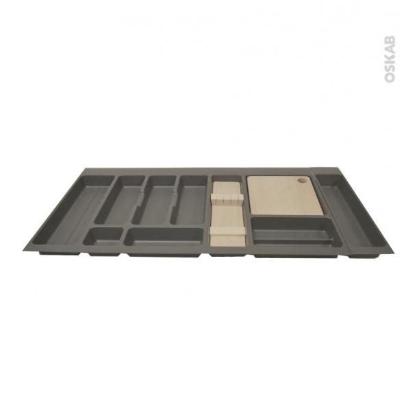 Range couverts - pour tiroir à l'anglaise L100 cm - Anthracite - Porte couteau bois - Planche à découper bois - SOKLEO