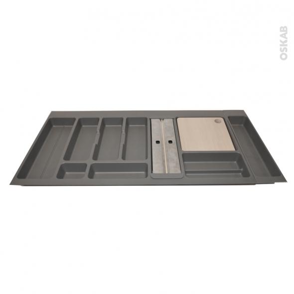 Range couverts - pour tiroir à l'anglaise L100 cm - Anthracite - Porte rouleau - Planche à découper bois - SOKLEO