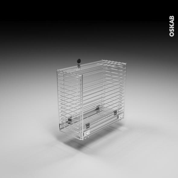 SOKLEO - Rangement coulissant - Sécurité enfant - Chromée - L21xH48xP46