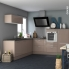 #Meuble de cuisine - Angle bas - KERIA Moka - Demi lune coulissant EPOXY - Tirant gauche 1 porte L50 cm - L100 x H70 x P58 cm