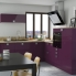 #KERIA Aubergine - Meuble bas cuisine  - 2 portes - L100xH70xP58