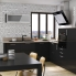 #Meuble de cuisine - Sous évier - KERIA Noir - 1 porte - L50 x H70 x P58 cm