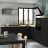 #Colonne de cuisine N°1058 - Four+MO encastrable niche 36/38 - GINKO Noir - 1 abattant 2 casseroliers - L60 x H195 x P58 cm
