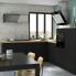 #GINKO Noir - Meuble haut MO niche 36/38 - 1 porte - L60xH92xP37