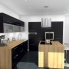 #GINKO Noir - Kit Rénovation 18 - Colonne Four niche 45 N°2156  - 2 portes 1 tiroir - L60xH195xP60