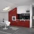 #Colonne de cuisine N°2721 - Armoire de rangement - STECIA Rouge - 12 paniers plateaux - L60 x H195 x P58 cm