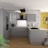 #STECIA Gris - Kit Rénovation 18 - Colonne Four N°1657  - 1 porte 2 casseroliers - L60xH195xP60