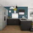 #FAKTO Béton - Meuble sous-évier - 2 portes lessiviel-poubelle coulissante - L100xH70xP58