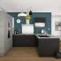 #GINKO Noir - Kit Rénovation 18 - Meuble casserolier - 3 tiroirs - L80xH70xP60