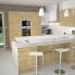 #Colonne de cuisine N°2157 - MO encastrable niche 36/38 - IPOMA Chêne naturel - 1 porte 3 tiroirs - L60 x H195 x P37 cm