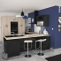 #Colonne de cuisine N°558 - Four+MO encastrable niche 45 - KERIA Noir - 1 abattant 2 casseroliers - L60 x H195 x P58 cm
