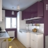 #Colonne de cuisine N°559 - Four+MO encastrable niche 45 - KERIA Aubergine - 1 abattant 3 tiroirs - L60 x H195 x P58 cm