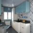 #KERIA Bleu - Meuble bas cuisine  - 1 porte - L40xH70xP58