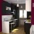 #Colonne de cuisine N°2157 - MO encastrable niche 36/38 - GINKO Noir - 1 porte 3 tiroirs - L60 x H195 x P37 cm