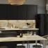 #Colonne de cuisine N°1658 - Four encastrable niche 60 - AVARA Frêne Noir - 1 porte 3 tiroirs - L60 x H195 x P58 cm