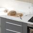 #Colonne de cuisine N°2158 - MO encastrable niche 36/38 - HELIA Gris - 1 porte 4 tiroirs - L60 x H195 x P58 cm