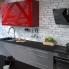 #Meuble de cuisine - Sur hotte - Pour hotte encastrable - Haut ouvrant - IVIA Rouge - 1 porte - L60 x H92 x P37 cm