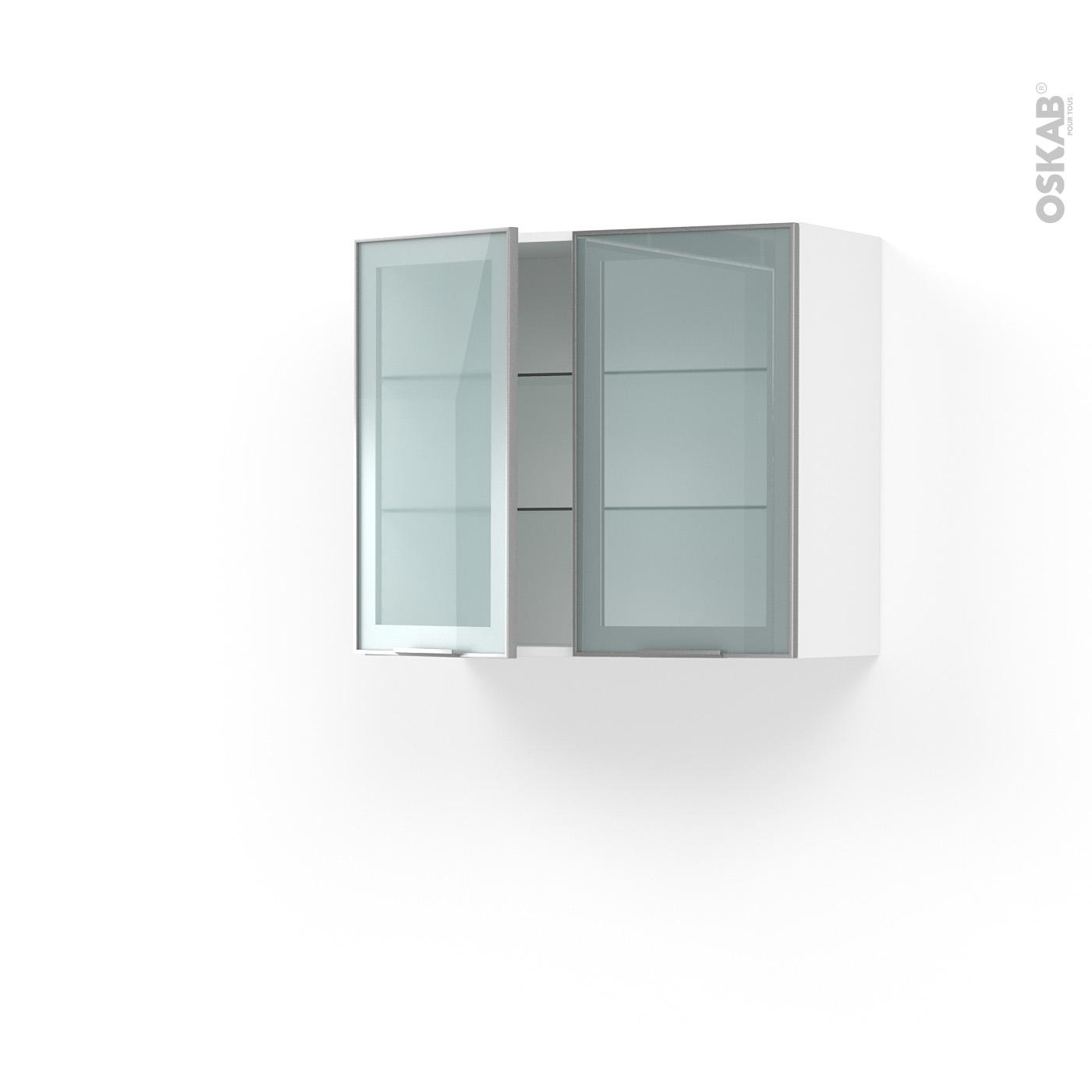 meuble de cuisine haut ouvrant vitré façade alu 2 portes l80 x h70 x