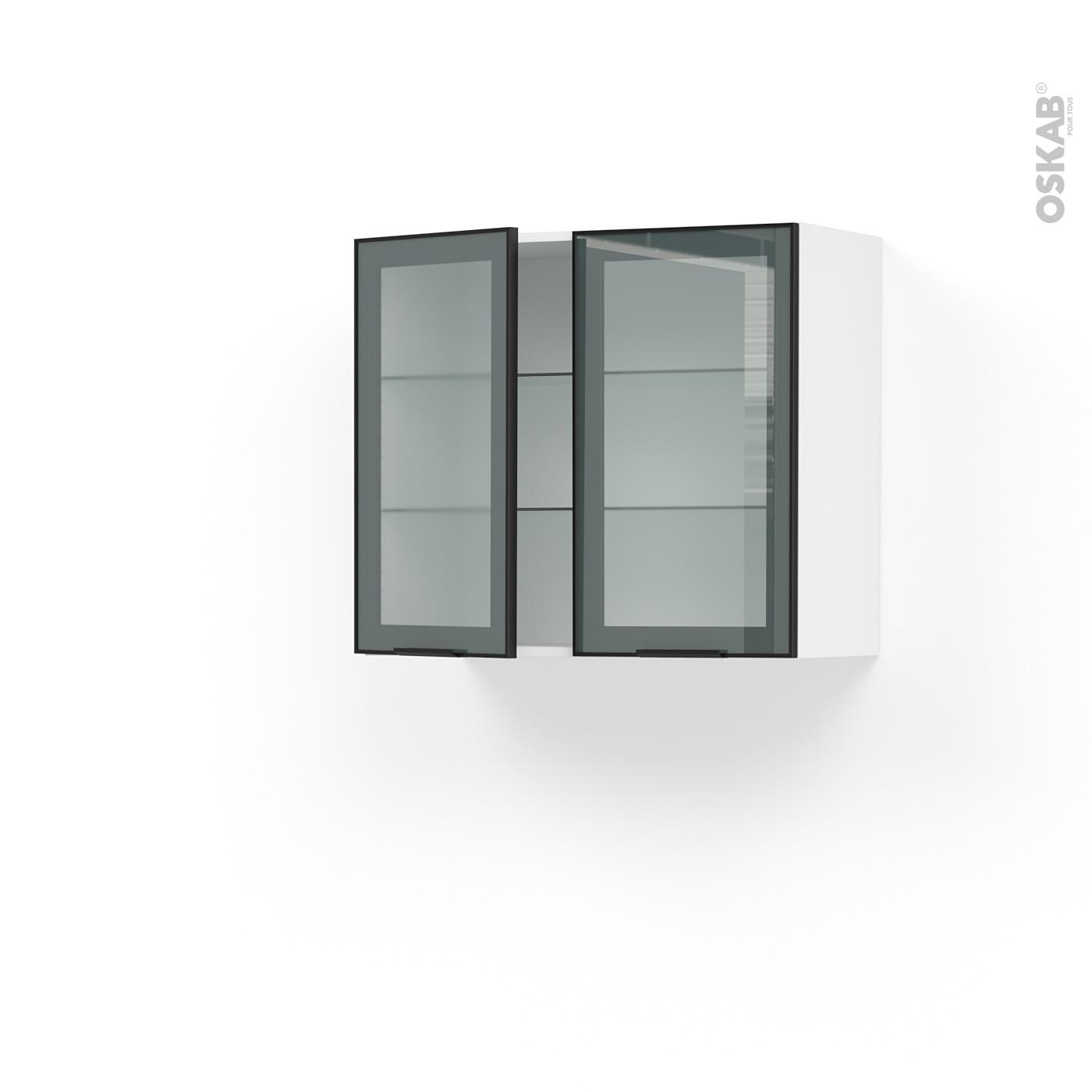 Meuble de cuisine Haut ouvrant vitré Façade noire alu, 11 portes, L11 x H11  x P11 cm, SOKLEO