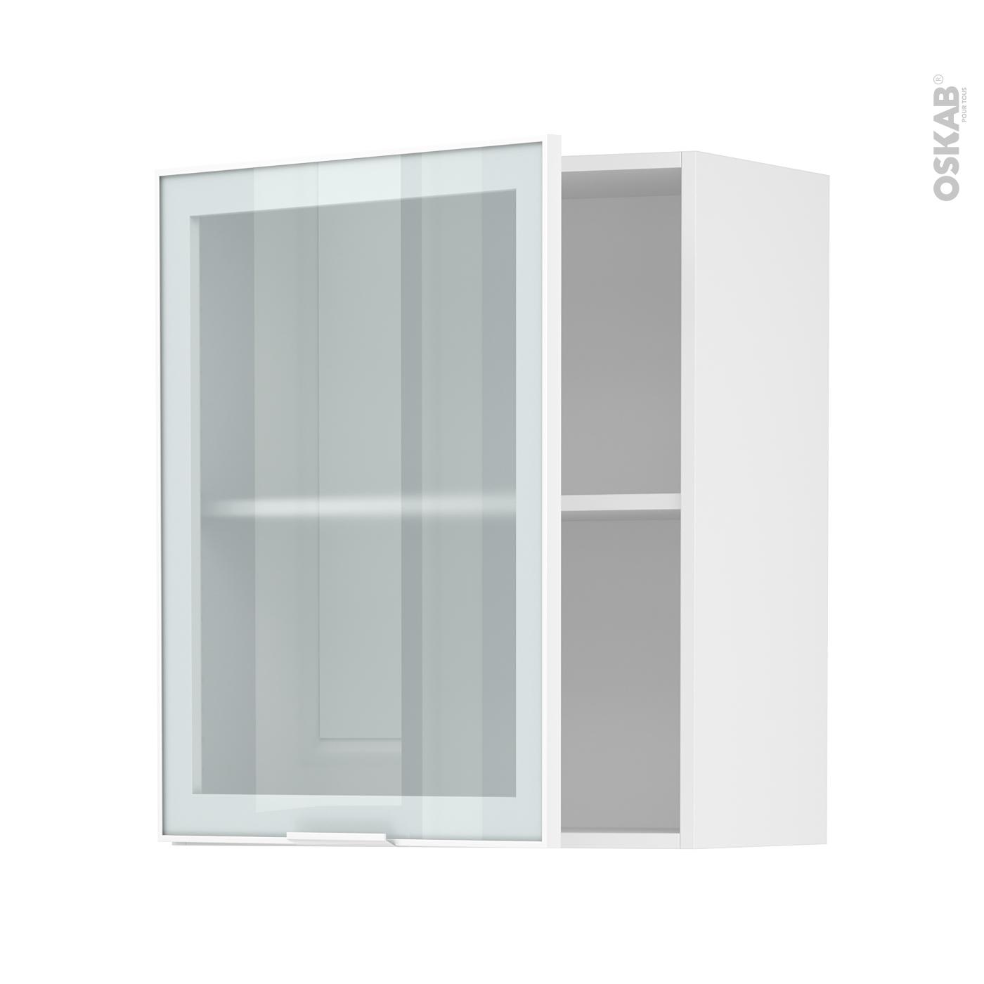 Meuble haut & bas cuisine vitré, Porte vitrée noir, blanc ou alu - Oskab