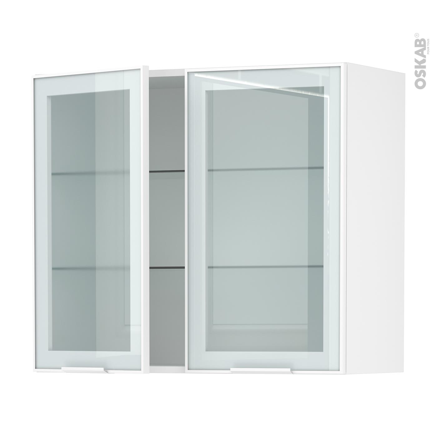 meuble de cuisine haut ouvrant vitré façade blanche alu 2 portes l80