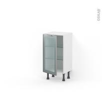 Meuble de cuisine - Bas vitré - Façade alu - 1 porte - L40 x H70 x P37 cm - SOKLEO