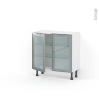 Meuble de cuisine - Bas vitré - Façade alu - 2 portes - L80 x H70 x P37 cm - SOKLEO