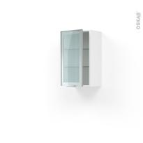 Meuble de cuisine - Haut ouvrant vitré - Façade alu - 1 porte - L40 x H70 x P37 cm - SOKLEO