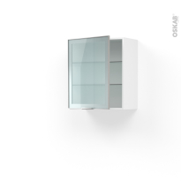 Meuble de cuisine - Haut ouvrant vitré - Façade alu - 1 porte - L60 x H70 x P37 cm - SOKLEO