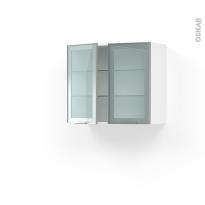 Meuble de cuisine - Haut ouvrant vitré  - Façade alu - 2 portes - L80 x H70 x P37 cm - SOKLEO