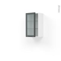Meuble de cuisine - Haut ouvrant vitré - Façade noire alu - 1 porte - L40 x H70 x P37 cm - SOKLEO