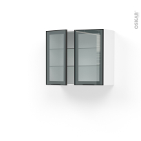 Meuble de cuisine - Haut ouvrant vitré - Façade noire alu - 2 portes - L80 x H70 x P37 cm - SOKLEO