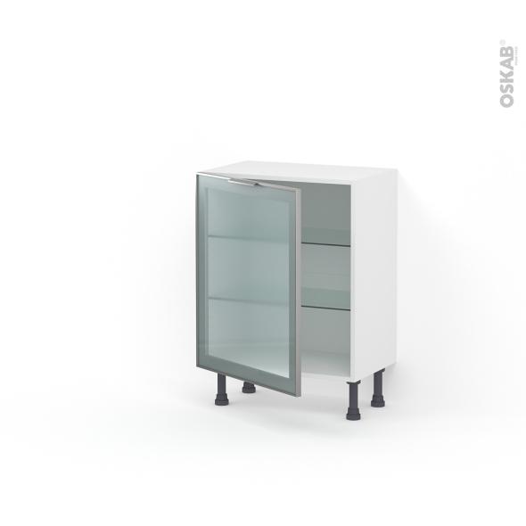 Meuble de cuisine - Bas vitré - Façade alu - 1 porte - L60 x H70 x P37 cm - SOKLEO